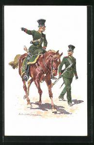 Künstler-AK Anton Hoffmann - München: K. B. Gendarmerie 1852, Soldat mit Gewehr läuft neben berittenen Soldaten