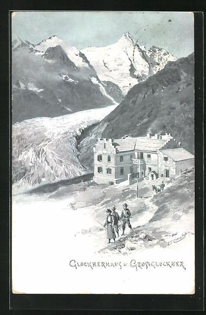 Künstler-AK Edward Theodore Compton: Glocknerhaus und Grossglockner mit Bergsteigern