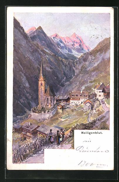 Künstler-AK Edward Theodore Compton: Heiligenblut mit Blick auf Gebirge und Kirche in Dorf