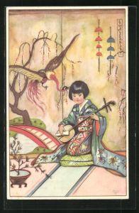Künstler-AK Erna Maison-Kurt: Junge Geisha kniet auf einem Kissen und musiziert auf einem Saiteninstrument