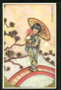 Künstler-AK Erna Maison-Kurt: Kleine Geisha mit Fächer und Schirm