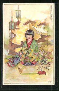 Künstler-AK Erna Maison-Kurt: Kleine Geisha kniet auf einem Kissen