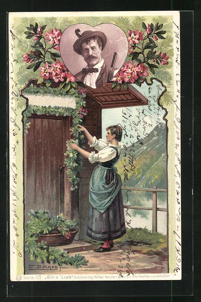 Künstler-AK E. Döcker: Frau schmückt die Tür ihres Hauses mit einer Blumengirlande