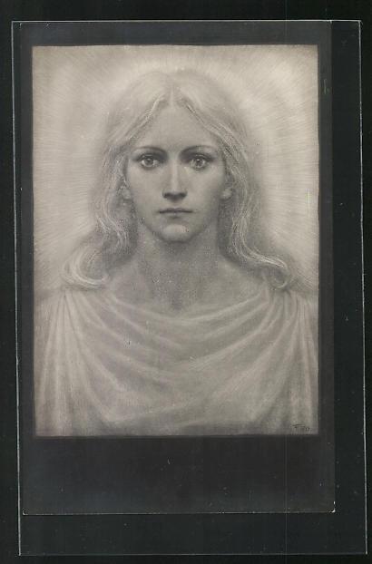 Künstler-AK Fidus: Lotoskönigin, Bildnis einer jungen Frau mit Heiligenschein
