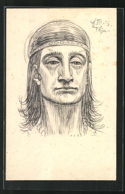 Künstler-AK Fidus: Teja, Mann mit markantem Gesicht und Stirnband im langen Haar