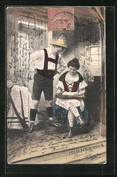 Künstler-AK Charles Scolik: Mann betrachtet die Frau beim Zitherspiel in der Stube