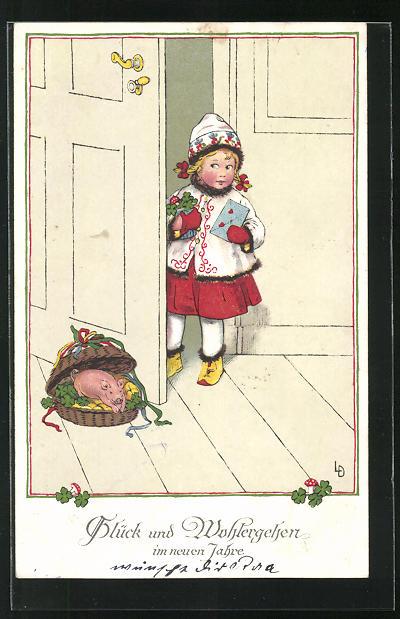 Künstler-AK Lia Döring: Mädchen steht mit Brief und Glücksklee an der Tür, Glück im neuen Jahre