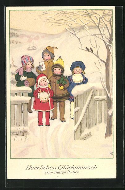 Künstler-AK Lia Döring: Kinder stehen an der verschneiten Gartenpforte und gratulieren zum neuen Jahre