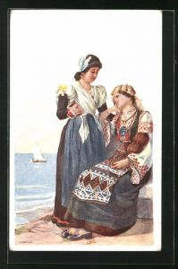 Künstler-AK Adolf Karpellus: zwei Maiden in Tracht