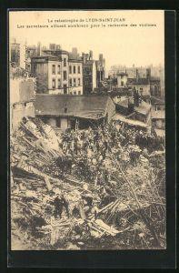 AK Lyon-Saint-Jean, La Catastrophe, Les sauveteurs affiuent nambreux pour la recherche des victimes, Feuerwehr