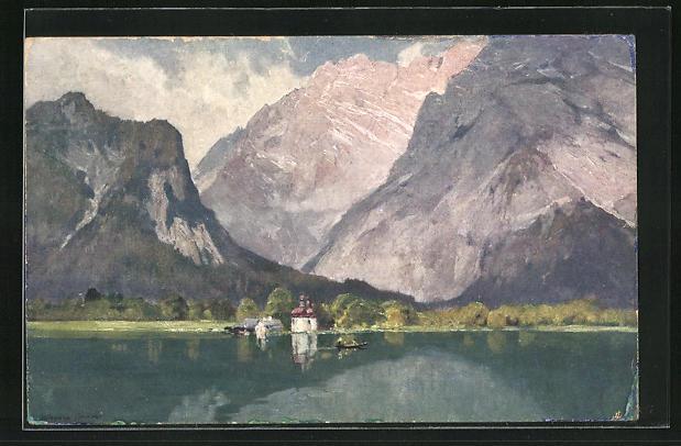 Künstler-AK Edward Harrison Compton: St. Bartholomä am Königsee