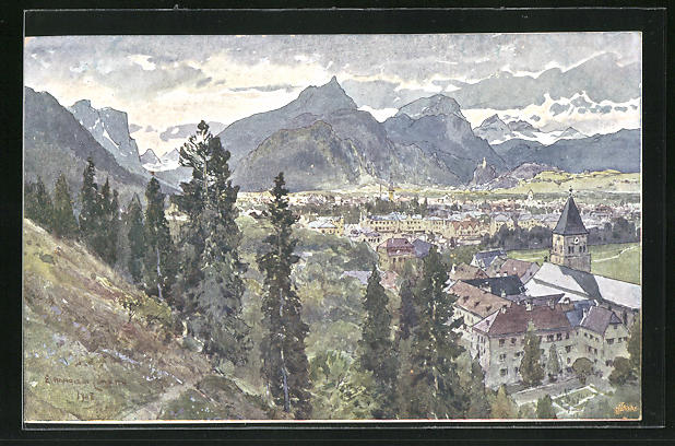 Künstler-AK Edward Harrison Compton: Bad Reichenhall, Panorama