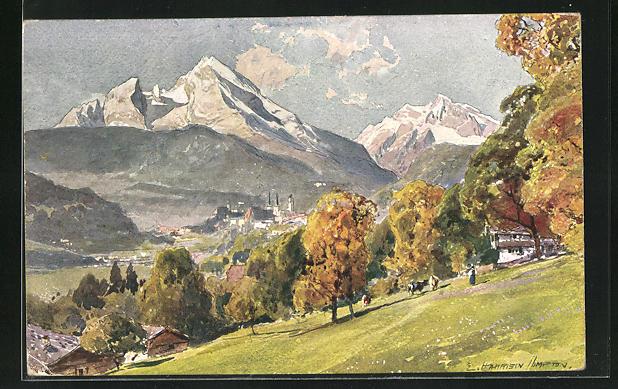 Künstler-AK Edward Harrison Compton: Berchtesgaden, Motiv mit Watzmann und Hochkalter