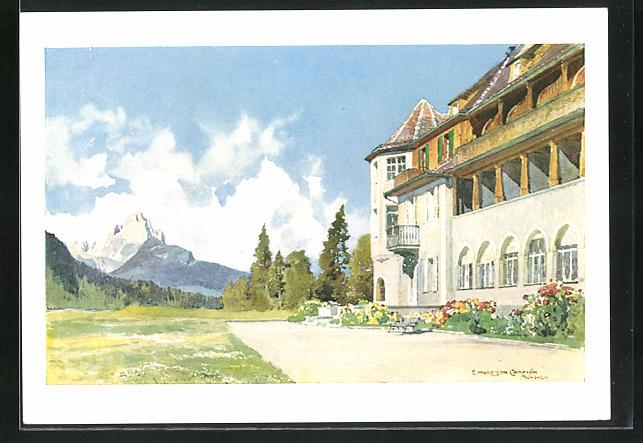 Künstler-AK Edward Harrison Compton: Schloss Elmau, Südseite mit Waxenstein