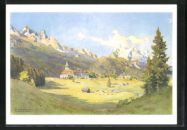 Künstler-AK Edward Harrison Compton: Schloss Elmau, Totale mit Dreitorspitze, Alp- und Zugspitze