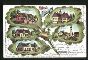 Passepartout-Lithographie Weichau, C. Bayer`s Gastwirtschaft, Postagentur, Bäckerei, Schloss und Dorfstrasse