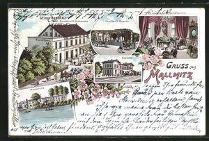 Passepartout-Lithographie Mallmitz, Georg Bruckauf`s Restaurant-Café, Bahnhof, Marienhütte