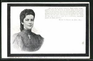 AK Kaiserin Elisabeth (Sissi) von Österreich, Worte des Kaisers im Jahre 1889