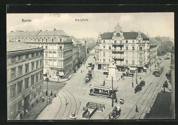 AK Berlin, Karlplatz mit Strassenbahnen