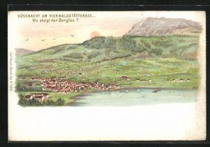 Lithographie Küssnacht am Vierwaldstättersee, Suchbild Wo steigt der Bergfex?, Panorama