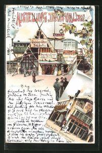 Lithographie Berlin, Ausstellung Transvaal 1897, Haus aus dem Goldgräberviertel, Goldgräberschenke