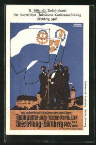 Künstler-AK Nürnberg, Bayer. Jubiläums-Landesausstellung 1906, Fahnenträger