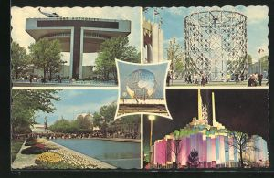 AK New York, World's Fair 1964, New York Port of Authority Heliport, Pool of Reflections & the Court of Peace