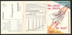 Klapp-AK Darmstadt, Infoblatt der Deutsche Bausparkasse, Heinrichstrasse 2