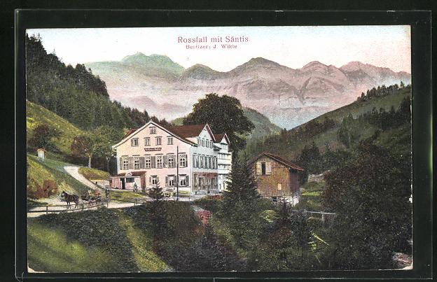 Relief-AK Urnäsch, Gasthaus Rossfall mit Säntis