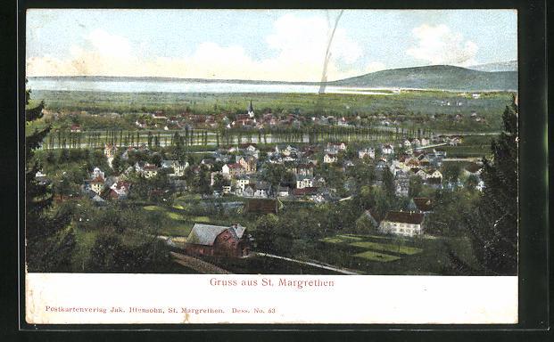 Relief-AK St. Margarethen, Panoramablick auf den Ort und ins Land