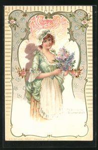 Duft-AK Schöne Frau mit Haube und Blumenstrauss