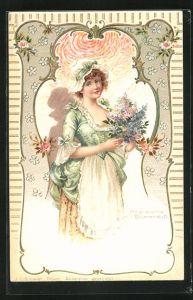Duft-AK Hübsche Frau mit Haube und Blumenstrauss