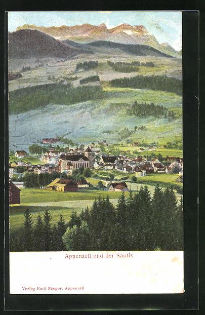 Relief-AK Appenzell, Ortsansicht gegen Säntis