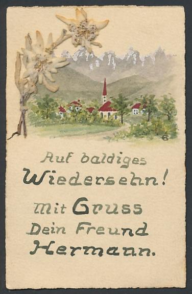 Trockenblumen-AK Dorf in den Alpen und getrocknetes Edelweiss 0