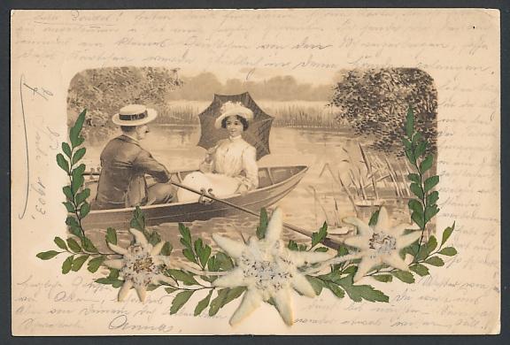 Trockenblumen-AK Paar im Ruderboot, getrocknetes Edelweiss