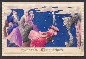 Präge-Airbrush-AK Die Heiligen Drei Könige lassen sich vom Weihnachtsstern zur Krippe leiten