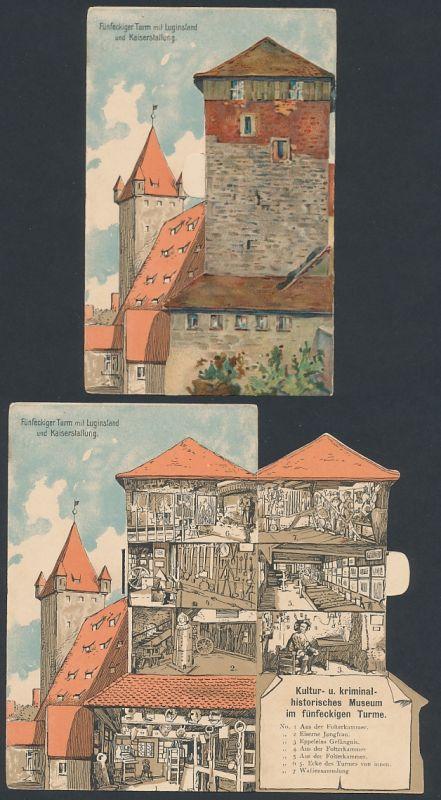 Mechanische-AK Nürnberg, Fünfeckiger Turm mit Luginsland und Kaiserstallung, Aufklappen erlaubt Blick ins Museum 0