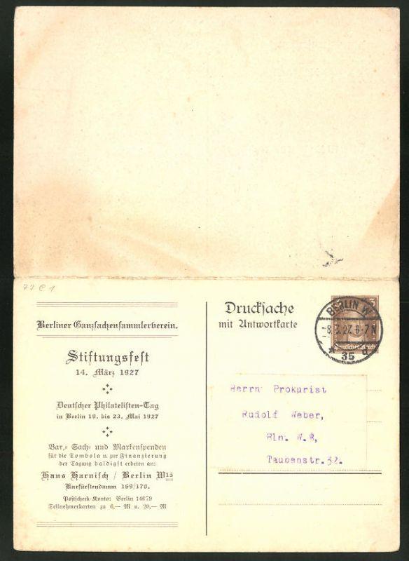 Klapp-AK Ganzsache PP99C1 /02: Berlin, Stiftungsfest des Berliner Ganzsachensammlerverein 1927