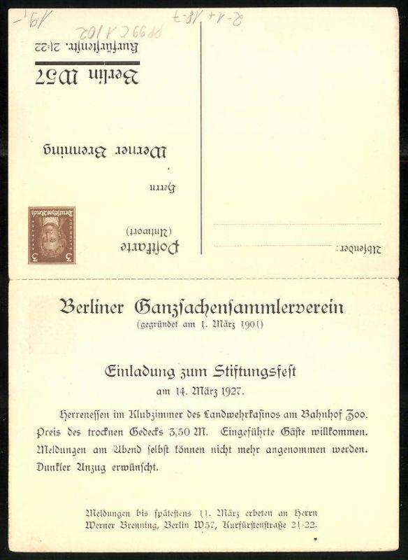 Klapp-AK Ganzsache PP99C1 /02: Berlin, Stiftungsfest des Berliner Ganzsachensammlerverein 1927 1