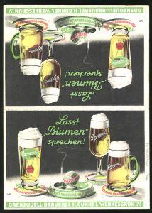 Klapp-AK Wernesgrün, Brauerei-Werbung der Grenzquell-Brauerei H. Günnel