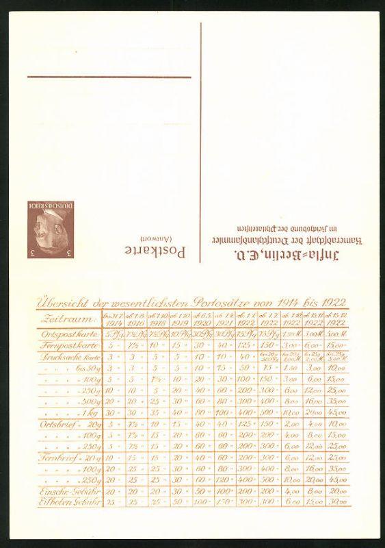 Klapp-AK Ganzsache PP153B1 /01: Berlin, Infla-Berlin, Kameradschaft der Deutschlandsammler, Portosätze 1923 0