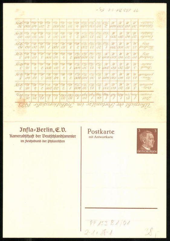Klapp-AK Ganzsache PP153B1 /01: Berlin, Infla-Berlin, Kameradschaft der Deutschlandsammler, Portosätze 1923 1