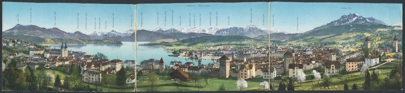 Klapp-AK Luzern, Blick auf die Stadt und Alpen-Panorama 0