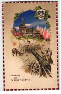AK Lüttich, Erstürmung der Festung durch deutsche Truppen, Halt gegen das Licht: Stadt im Feuerschein