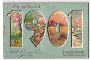 Glitzer-Perl-AK Neujahrsgruss, Jahreszahl 1901 mit Glitzer-Perlen und Landschaftsmotiven