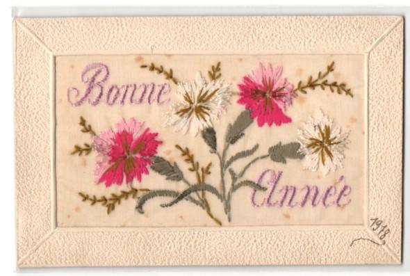 Seidenstick-AK Bonne Année, Neujahrsgruss mit roten und weissen Blumen
