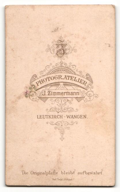 Fotografie J. Zimmermann, Leutkirch-Wangen, Mann mit Vollbart in Anzug mit kleiner Schleife 1