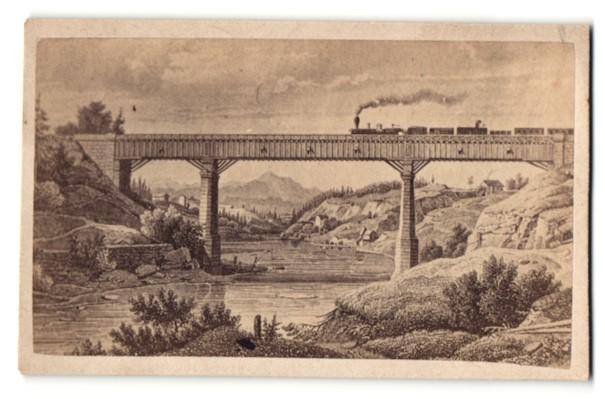 Fotografie Fotograf unbekannt, Ansicht Kempten, Eisenbahn überquert das Viadukt