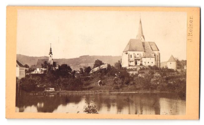 Fotografie J. Reiner, Klagenfurt, Ansicht Maria Wörth, Partie an der Kirche