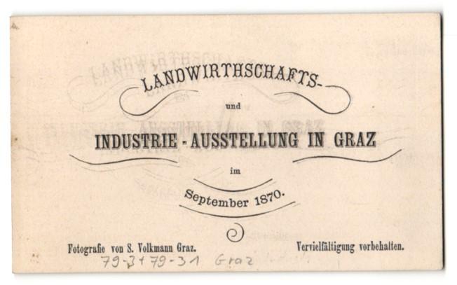 Fotografie S. Volkmann, Graz, Ansicht Graz, Landwirtschafts & Industrie-Ausstellung 1870, Ausstellungs-Gebäude 1
